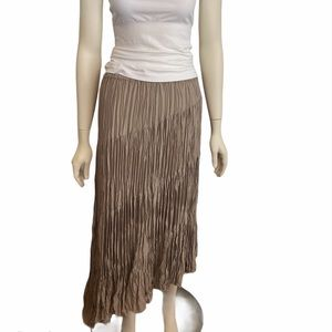 CHICO'S Taupe Pleat Asymmetrical Maxi Skirt 1 M 8